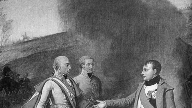 Kaiser Franz II. und Napoleon nach der Schlacht von Austerlitz, 1805