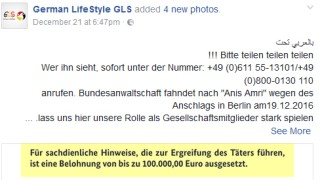 Screenshot aus einer Facebook-Gruppe zu Fahndungsaufruf Anis Amri