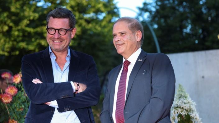 Publisher Diekmann and Israeli ambassador to Germany Hadas-Handelsman attend the Bild 100 event in Berlin attend the Bild 100 event in Berlin