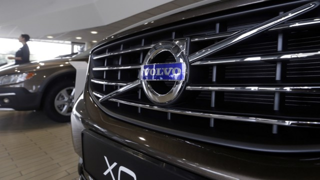File photo of  Volvo logo on a car in a car dealership showroom in Riga