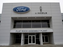 An entrance to the Ford Motor Co. Flat Rock Assembly Plant is seen in Flat Rock, Michigan