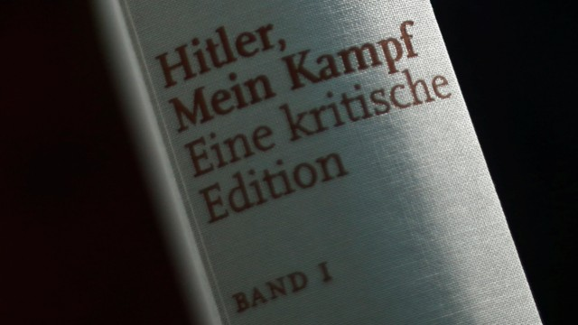 FILE PHOTO: A copy of the book 'Hitler, Mein Kampf. A Critical Edition' is displayed prior to a news conference in Munich