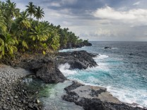 Rocky beach of Praia Piscina on the south coast of Sao Tome Sao Tome and Principe Atlantic Ocean