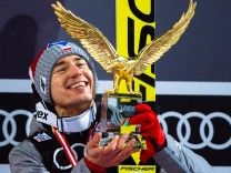 January 6 2017 Bischofshofen Austria Kamil Stoch of Poland celebrates victory after the final