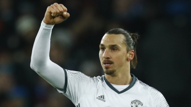 Manchester United's Zlatan Ibrahimovic celebrates scoring their second goal