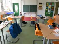 Klassenraum in Pavillonschule in München, 2015