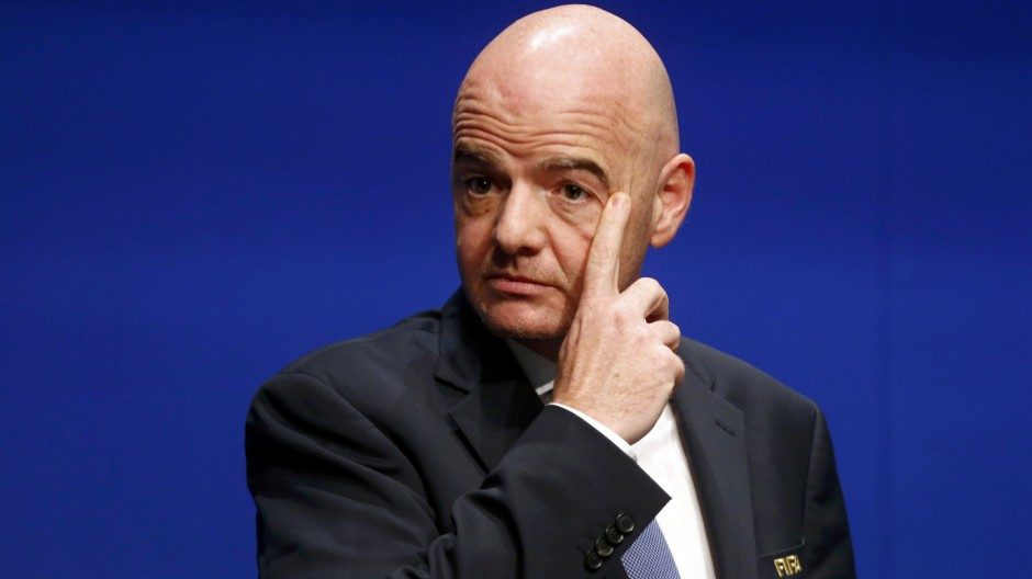 FIFA President Infantino addresses a news conference after a FIFA Council in Zurich