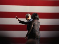 January 10 2017 Chicago Illinois United States Barack and Michelle Obama leave after the fare
