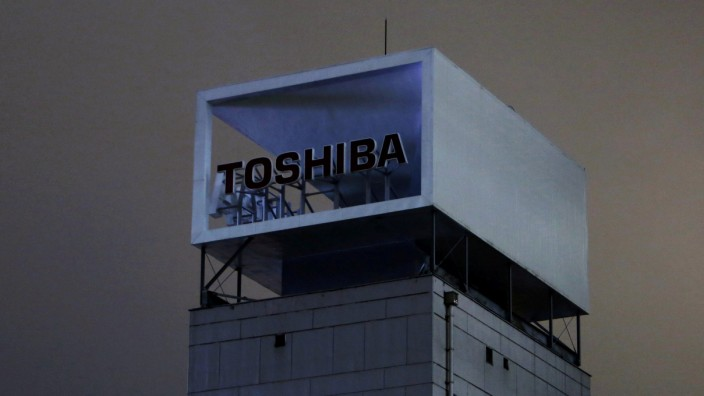 FILE PHOTO: The logo of Toshiba Corp is pictured at its headquarters in Tokyo