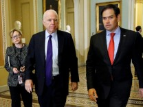 U.S. Senators McCain and Rubio arrive for Senate Republican party leadership elections at the U.S. Capitol in Washington