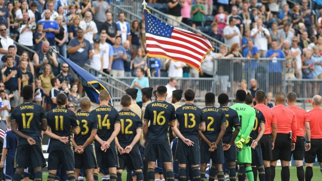 August 20 2016 Chester Pennsylvania U S The Philadelphia Union players salute the flag during
