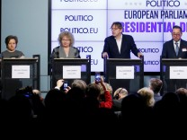 EU Parliament's presidential candidates attend a debate in Brussels