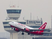 File photo of Air Berlin passenger plane taking off from Tegel airport in Berlin