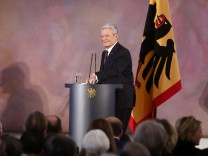 Outgoing German President Gauck arrives for his final speech at the presidential Bellevue Palace in Berlin