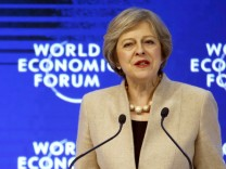 Britain's Prime Minister May attends the WEF annual meeting in Davos