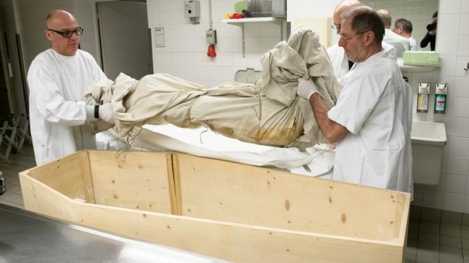 Nach der Untersuchung in der Kernspin-Röhre wird das Schwein in der Pathologie zurück in den Holzsarg gelegt. (Foto: Florian Peljak)