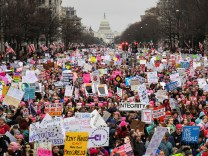 Hundreds of thousands march down Pennsylvania Avenue during the Women's March in Washington