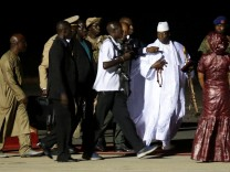 Former Gambian President Yahya Jammeh arrives at the airport before flying into exile from Gambia