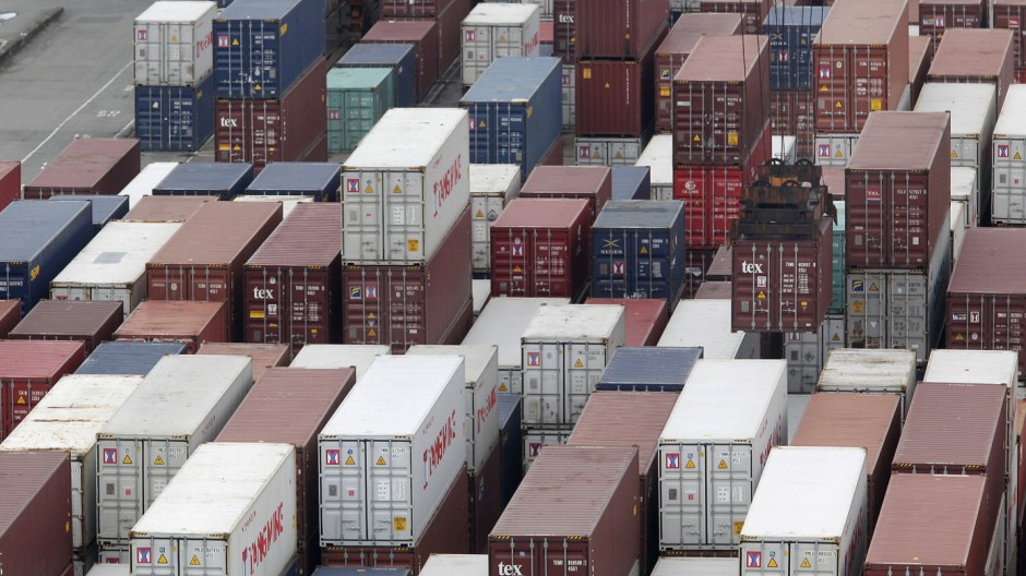FILE PHOTO: A container is lifted at Keelung port, northern Taiwan