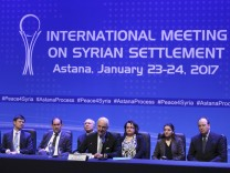 U.N. special envoy for Syria Staffan de Mistura attends news conference following Syria peace talks in Astana