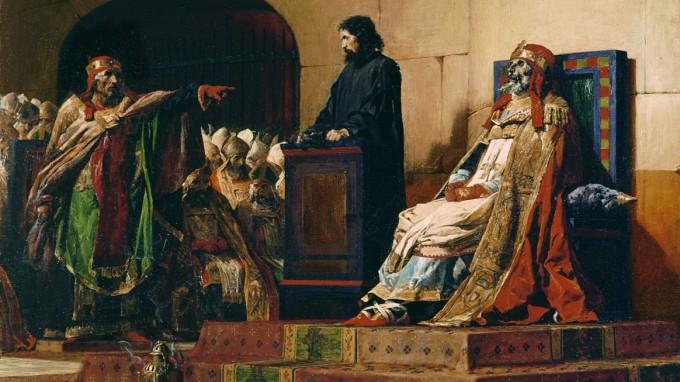Gerichtsprozess für eine Leiche - im Jahr 897 wurde der tote Papst Formosus exhumiert und geschändet. Abb.: Papst Formosus und Stephan VI., Jean-Paul Laurens, 1870. (Foto: Musée des Beaux-Arts, Nantes/Gemeinfrei)