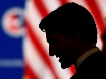 File photo of Canadian Prime Minister Trudeau talking to guests at the U.S. Chamber of Commerce in Washington