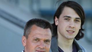 Vater Manfred Schwabl und Sohn Markus SpVgg Unterhaching Fussball Herren 3 Liga 02 04 201; Fußball