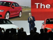 Nov 20 2013 Los Angeles Ca USA Scott Keogh President of Audi of America shows the new line of A8
