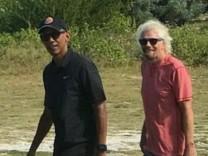 Barack Obama mit Richard Branson im Urlaub