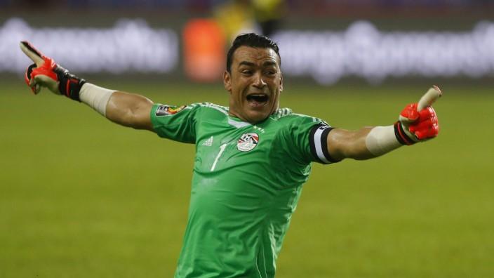 Egypt's Essam El-Hadary celebrates their first goal