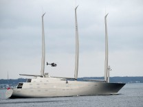 The 142.81 metre sail-assisted motor yacht 'Sailing Yacht A' passes Elsinore, North Sealand, Denmark