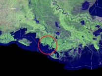 A satellite view of the Louisiana coastline. The two growing deltas, Wax Lake and Atchafalaya, are circled in red. The Mississippi River is the long meandering blue line, farthest right (east).