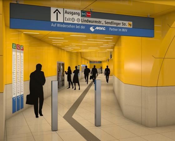 Simulation Ebene Sperrengeschoss - Sendlinger Tor - U-Bahn