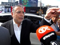 Ramon Fonseca, founding partner of law firm Mossack Fonseca, gestures as he talks to the media as he arrives at the Public Ministry office for the Odebrecht corruption case in Panama City, Panama