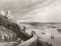 """View of Koblenz (Germany). Engraving.Pressefotos nur im Rahmen der Buchbesprechung """"Ansichten vom Niederhein"""" zu verwenden"""