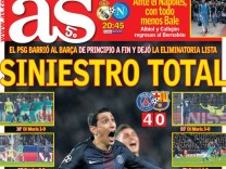 "Paris Saint-Germain gegen FC Barcelona, Titelseite ""AS"""