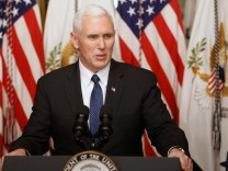U.S. Vice President Mike Pence delivers remarks before swearing in Education Secretary Betsy DeVos at the Eisenhower Executive Office Building at the White House in Washington