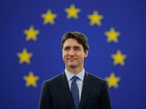 Canada's Prime Minister Trudeau arrives to adress the European Parliament in Strasbourg
