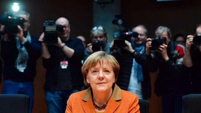 German Chancellor Angela Merkel is heard as a witness during a parliamentary hearing about the NSA