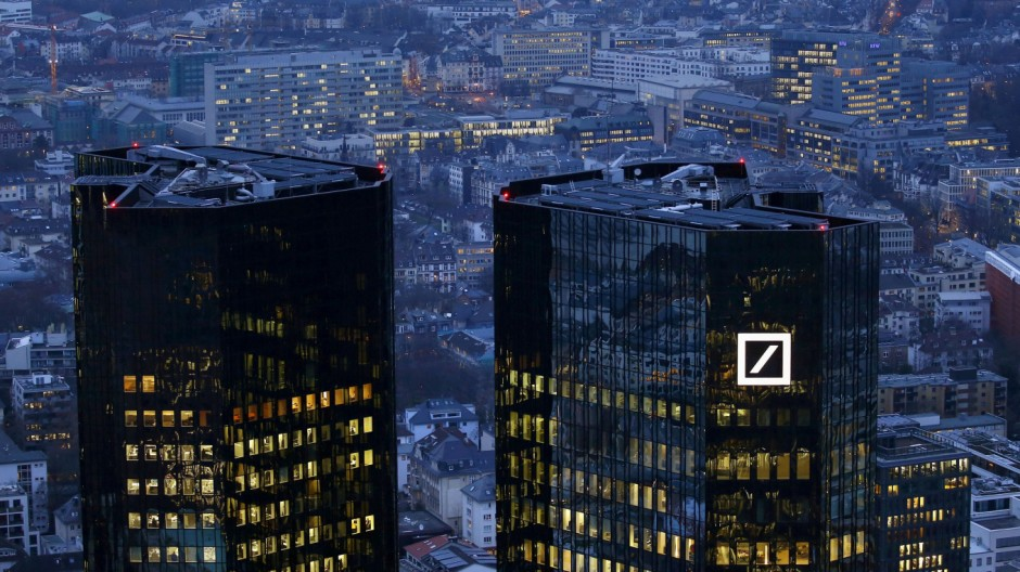 FILE PHOTO - The headquarters of Germany's Deutsche Bank is photographed early evening in Frankfurt