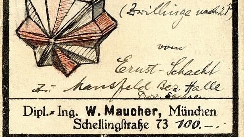 Kristallgarten Pasing Original beschriftete Steineschachtel von Firmengründer Wilhelm Maucher