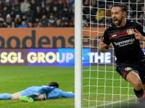 Karim Bellarabi Bayer 04 Leverkusen 38 beim Torjubel nach dem Treffer zum 1 0 50 000 Bundesligatr