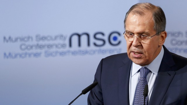 Russia's Foreign Minister Lavrov delivers his speech during the 53rd Munich Security Conference in Munich