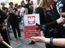 July 5 2016 Gdansk Poland Gdansk Poland 5th July 2016 Woman holds Polish Constitution in han