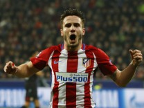 Atletico Madrid's Saul Niguez celebrates scoring their first goal