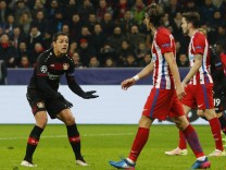 Bayer Leverkusen's Javier Hernandez reacts after misisng a chance to score