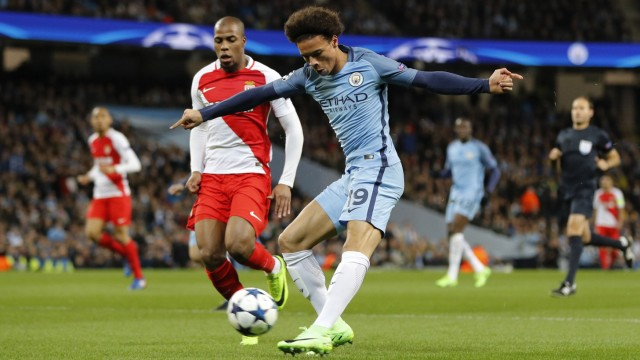 Manchester City's Leroy Sane shoots at goal