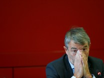 Niersbach, President of the German Football Association addresses news conference at the DFB headquarters in Frankfurt