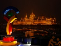 FILE PHOTO: The Hungarian Parliament is seen with the Olympic logo at a promotional spot as the Hungarian capital bids for the 2024 Olympic Games, in central Budapest