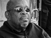 July 9 2016 Perugia Italy Fred Wesley after his concert in Umbria Jazz 2016 signing autograph
